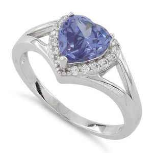 Jewelry - Sterling Silver Heart Shape Tanzanite CZ Ring SZ 7